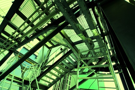 shinereflection: Industrial zone, Steel pipelines and equipment in green tones