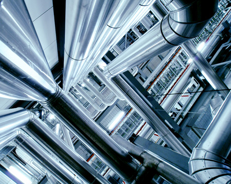 chemical engineering: Industrial zone, Steel pipelines, valves and ladders