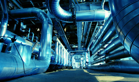 Industrial zone, Steel pipelines and cables in blue tones photo