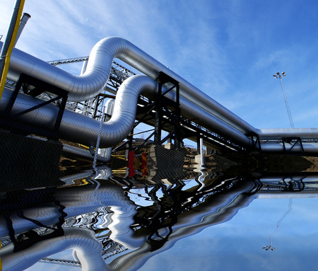 water power plant: Industrial zone, Steel pipelines and equipment with reflection Stock Photo
