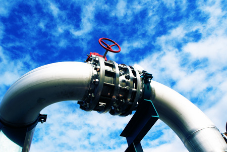 gas pipeline: Industrial zone, Steel pipelines and valves against blue sky
