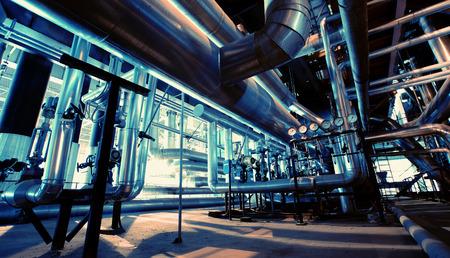 refinery engineer: Industrial zone, Steel pipelines and equipment in blue tones Stock Photo
