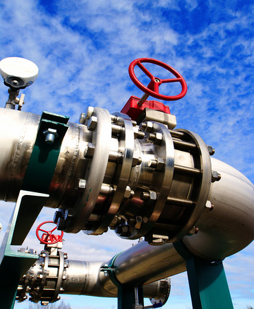 pipe line: Industrial zone, Steel pipelines and valves against blue sky