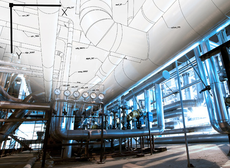 refinery engineer: Sketch of piping design mixed with industrial equipment photo