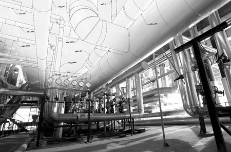 piping: Sketch of piping design mixed with industrial equipment photo