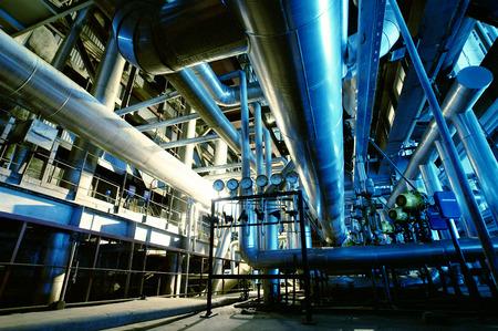 industry: Industrial zone, Steel pipelines and equipment in blue tones Stock Photo