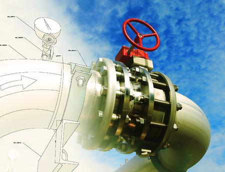 industria quimica: Zona industrial, tuberías de acero y válvulas contra el cielo azul