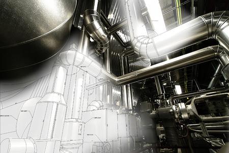 turbina de vapor: Zona industrial, tuberías de acero, válvulas y escaleras