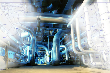 gas supply: Sketch of piping design mixed with industrial equipment photo Stock Photo