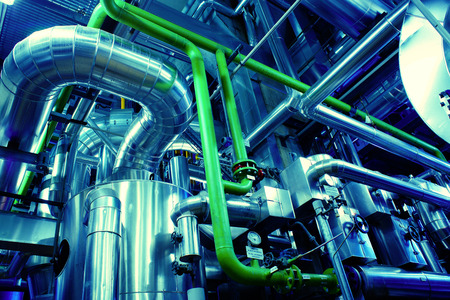 refinery engineer: Industrial Steel pipelines and valves Stock Photo