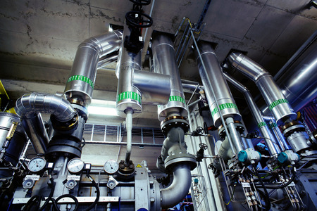 factory line: Industrial Steel pipelines and valves Stock Photo