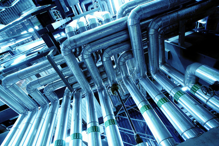 Industrial zone, Steel pipelines Stock Photo