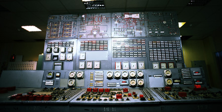 chernobyl: Control room of an old power generation plant Stock Photo
