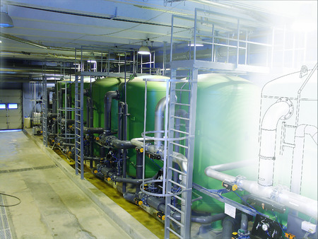 water filter: sketch mixed with photo water treatment tanks at power plant