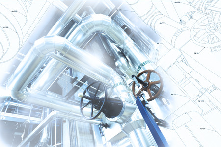 industrial machine: Sketch of piping design mixed with industrial equipment photo Stock Photo