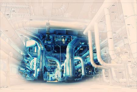 ingenieria industrial: Boceto de diseño de tuberías mezcla con equipos industriales foto