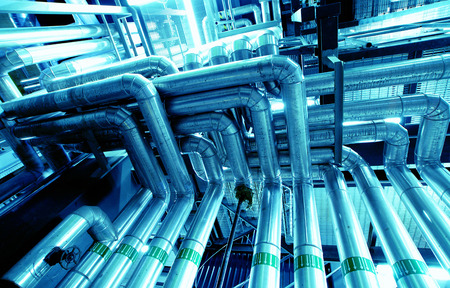 oil pipeline: Industrial Steel pipelines and valves Stock Photo