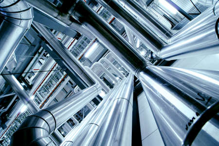 pipelines: Industrial zone, Steel pipelines, valves and ladders