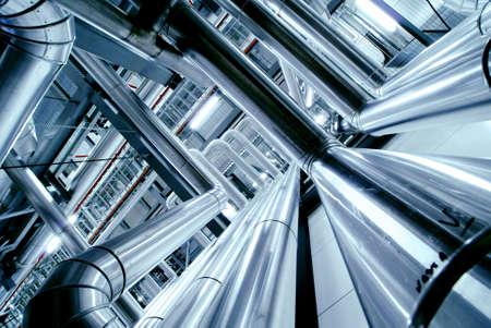 siderurgia: Zona industrial, tuberías de acero, válvulas y escaleras