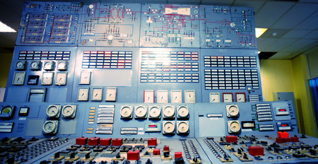 factory power generation: Control room of an old power generation plant Stock Photo