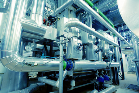 plant oil: Equipment, cables and piping as found inside of a modern industrial power plant