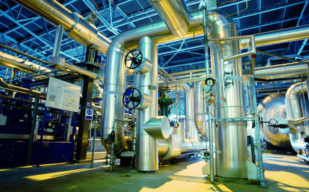 industries: Equipment, cables and piping as found inside of a modern industrial power plant