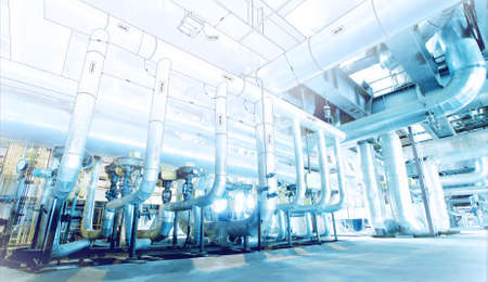 industriales: Boceto de diseño de tuberías mezcla con equipos industriales foto