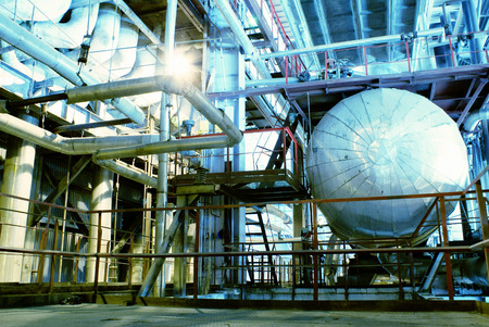gas industry: Equipment, cables and piping as found inside of a old industrial power plant