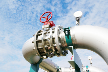 piping: Industrial zone, Steel pipelines and valves against blue sky