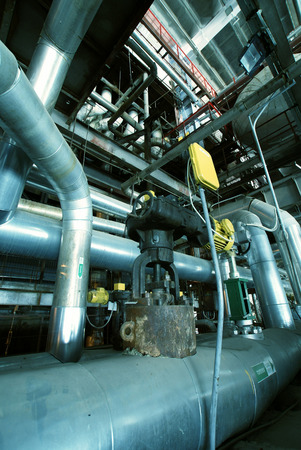 lagging: Industrial zone, Steel pipelines in blue tones Stock Photo