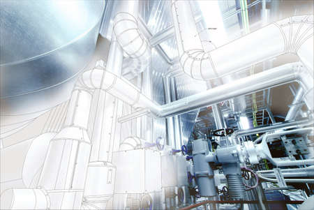 industry: Sketch of piping design mixed with industrial equipment photo Stock Photo