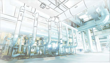 engineers: Sketch of piping design mixed with industrial equipment photo Stock Photo