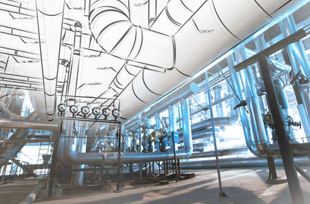 an engineer: Sketch of piping design mixed with industrial equipment photo Stock Photo