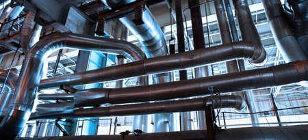 factory: Industrial zone, Steel pipelines in blue tones Stock Photo