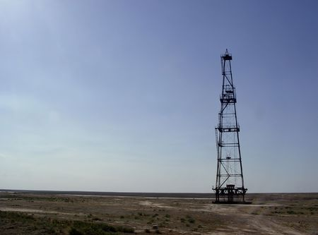 boring rig: photo of abandoned oil rig in steppe of Kazakhstan, Middle Asia