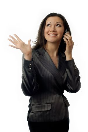 Photo of smiling lady with cellular phone during pleasant conversation Stock Photo - 2672479