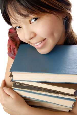 numerous: Young student with numerous books to be ready for exam