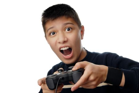 manipulator: Photo of the boy plaiyng in computer hame with joystick Stock Photo