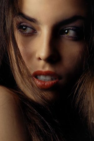 Beautiful attractive woman with red lips looking to sideward Stock Photo - 2678818