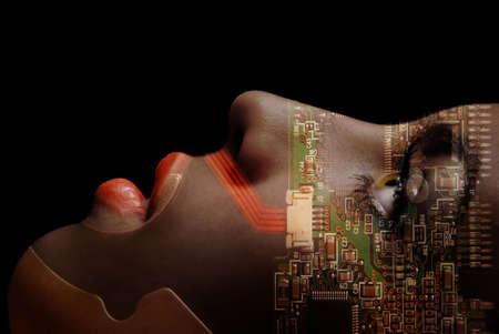 robot girl: Beautiful robotic woman as a symbol of human development Stock Photo