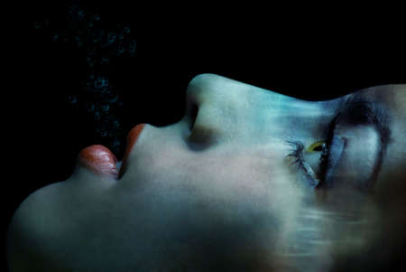 The last breath of the pretty woman under the water