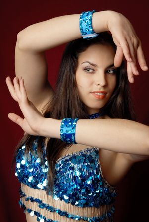 Belly dancer with big breast in blue traditional costume Stock Photo - 2679305