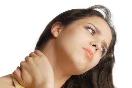 sedentary: Chica que padecen el dolor y masajear su cuello  Foto de archivo