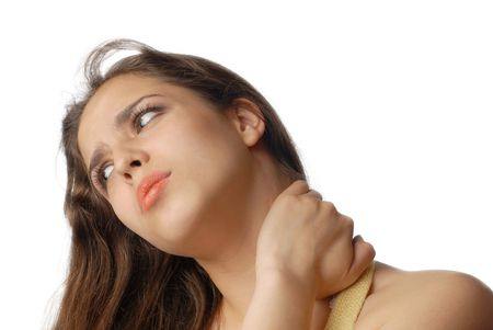 Sad tired woman massaging her neck and suffering from pain