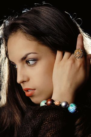 Photo of young model's profile with ring and bracelet Stock Photo - 2683713