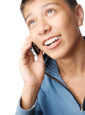 Smiling glad boy talking via mobile phone Stock Photo - 2702365