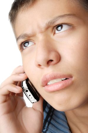 Boy with mobile phone trying to understand his talker