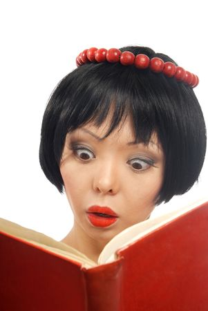 Emotional photo of the pretty model reading the red book Stock Photo - 2739212