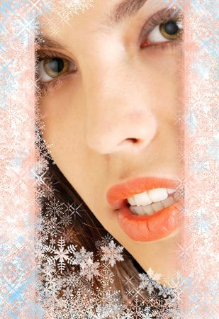 seduction: Xmas photo of the sexy model with snowflake framing Stock Photo