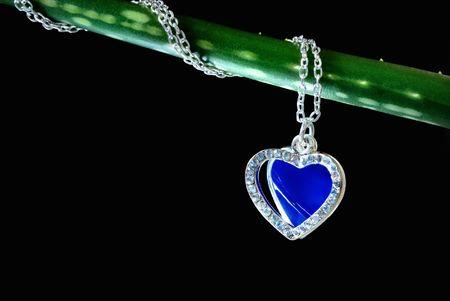 Macro of precious pendant on fresh plant stem photo
